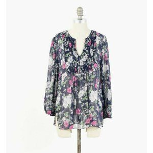 Joie Sheer Silk Chiffon Floral Peasant Blouse